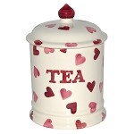 Pink Hearts Tea Storage Jar
