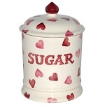 Pink Hearts Sugar Storage Jar