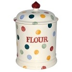 "Polka Dot 2 Pint Storage Jar ""Flour"""