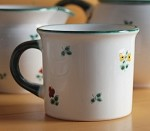 Scattered Blooms Classic Coffee Mug , Green Rim