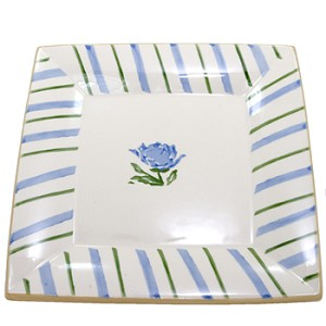 Blue Peony Large Square Plate