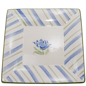 Blue Peony Medium Square Plate