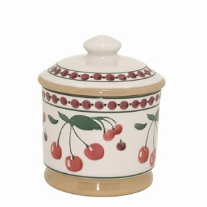 Cherry Lidded Sugar Pot