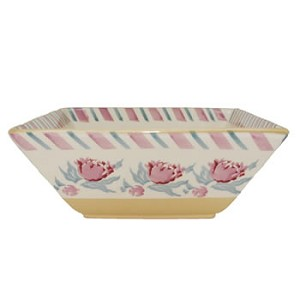 Pink Peony Medium Square Bowl