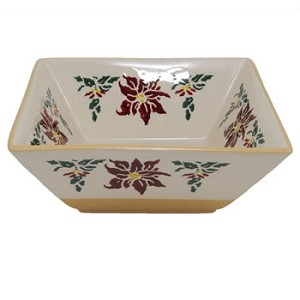 Poinsettia Medium Square Bowl RETIRED