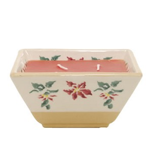 Poinsettia Square Candle Bowl RETIRED