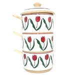 Red Tulip Relish Tower w/ Spoons