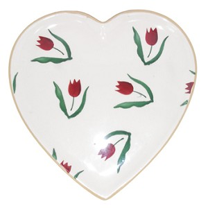 Red Tulip Heart Shaped Plate