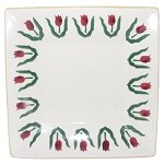 Red Tulip Medium Square Plate