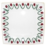 Red Tulip Large Square Plate
