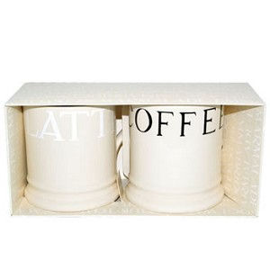 White & Black Toast & Marmalde Mug Set