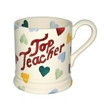 "Polka Heart ""TOP TEACHER"" 1/2 Pint Mug  RETIRED"