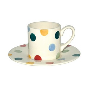 Polka Dot Espresso Cup  and  Saucer Set