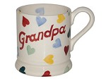 "Polka Heart ""GRANDPA"" 1/2 Pint Mug  RETIRED"