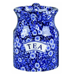 Blue Calico Tea Canister Retired