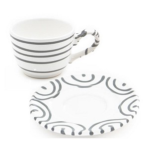 Dizzy Grey Classic Cup  and  Saucer 6.4 oz