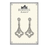 Downton Abbey® Crystal Pave Silver Fleur Drop Earrings