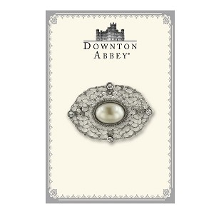Downton Abbey® Creamy Pearl Silver Filigree Brooch