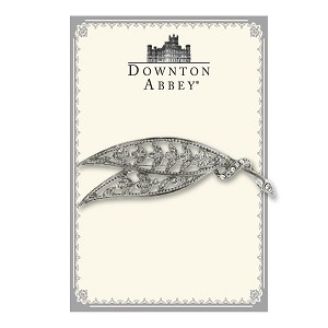 Downton Abbey® Silver Crystal Leaf Brooch