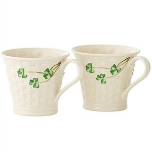 Shamrock Set/2 Basketweave Mugs