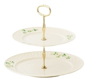 Shamrock Two Tiered Cake Stand
