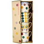 Polka Dot Mix Set of 4 Espresso Cups Boxed
