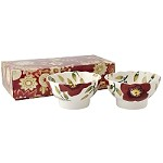 Christmas Rose Set/2 Small Fluted Bowls, Boxed