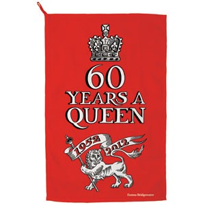 Diamond Jubilee 60 Years a Queen Tea Towel