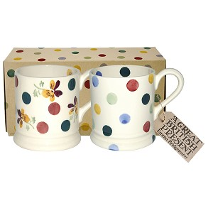 Polka Pansy & Polka Dot Boxed Mug Set