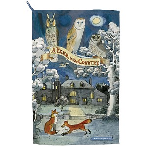 Year in the Country Fox and Owls Tea Towel