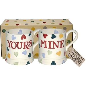 Polka Hearts Yours & Mine Boxed Mug Set