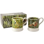 Birds and Leaves Set/2 1/2 Pint Mugs Boxed