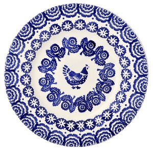"Blue Hen  and  Border 8 1/2""  Lunch Plate"