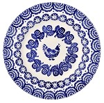 "Blue Hen & Border 8 1/2""  Lunch Plate"
