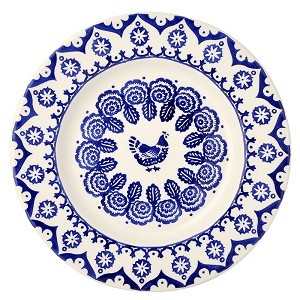 "Blue Hen  and  Border 10 1/2"" Dinner Plate"