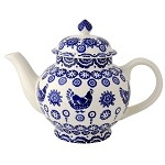 Blue Hen and Border 4 Cup Teapot