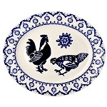 Blue Hen & Border Medium Oval Platter