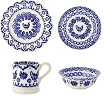 Blue Hen & Border 4 Piece Place Setting