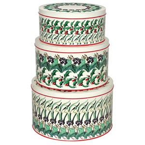 Winter Flowers Set/3 Cake Tins
