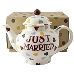 Polka Hearts Just Married Teapot