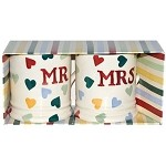 Polka Hearts Mr & Mrs Boxed ½ Pint Mugs Set