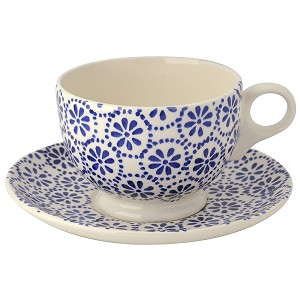 Cobalt Daisy & Spot Breakfast Cup and Saucer