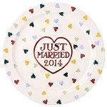 Polka Heart Just Married Cake Plate