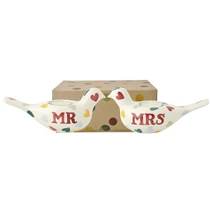 Polka Heart Mr & Mrs Dove Candles Boxed