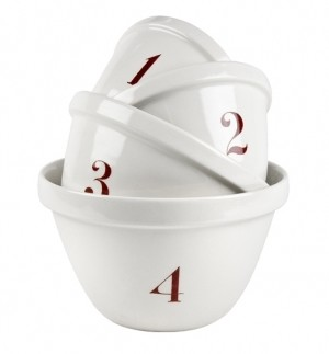 Natural White Mixing Bowl  #1 - Red Numbers Retired