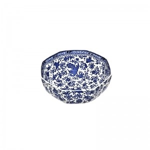 Blue Regal Peacock Hexagonal Bowl Medium
