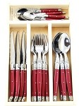 JEAN DUBOST 24 PC EVERYDAY FLATWARE SET RED IN TRAY