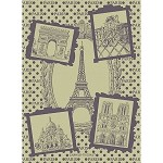 Paris Monuments Olive Kitchen Towel