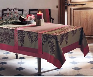 "SALE Fougeres Tablecloth -Cranberry Retired 61"" x 87"""