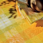 MILLE PANACHE CANARY Tablecloth Round 69, COATED
